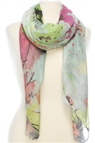 1057 Floral Watercolor Print Scarf