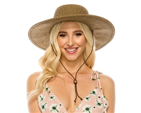 wholesale upf hats - wide brim tweed straw sun hat