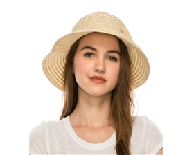 wholesale facesaver hat - packable ribbon travel cap asymmetrical foldable ribbon hat