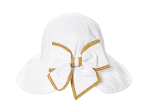 wholesale facesaver hat - split back ribbon sun hat w bow