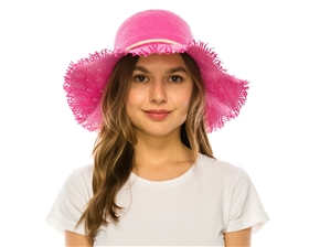 wholesale floppy hats toyo straw frayed brim beach hat