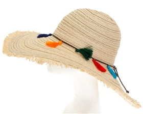 Wholesale Colorful Tassel Straw Hat Womens Beach Straw Sun Hat