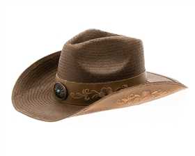 Wholesale Brown Straw Cowboy Hats Handwoven Brown