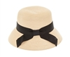 Wholesale Flat Top Cloche Hat w/ Bow Womens Beach Hat