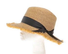 Wholesale Womens Fringed Raffia Boater Hat