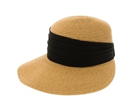 wholesale beach hats - Backless Sun Hat w/ Pleated Chiffon Band
