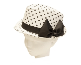 wholesale kid's polka dot fedora hat with bow