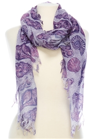 Wholesale Cotton Summer Scarves - Seashells