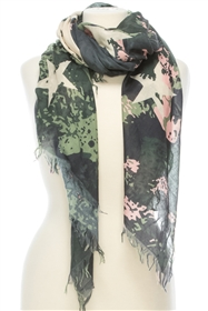 Wholesale Cotton Summer Scarves - Camo Stars