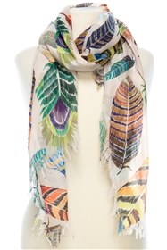Wholesale Cotton Summer Scarves - Feather Print