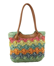 wholesale multicolor crochet straw purse