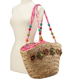 wholesale seagrass tote  colorful beads