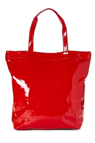 wholesale black red vinyl handbag purse tote