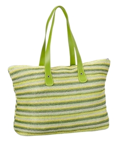wholesale beach bags - striped nylon crochet shoulder tote