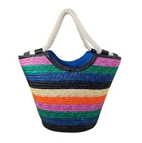 wholesale striped straw tote  rope handles