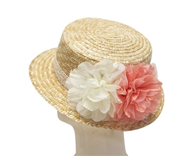 wholesale straw boater hats 2 flowers