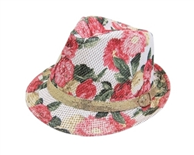 wholesale kids fedora hat flower pattern gold glitter