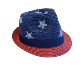 Wholesale Kids Red White Blue Fedoras w Stars