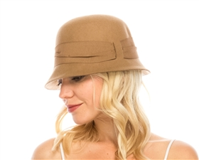 wholesale wool felt cloche  pleated band