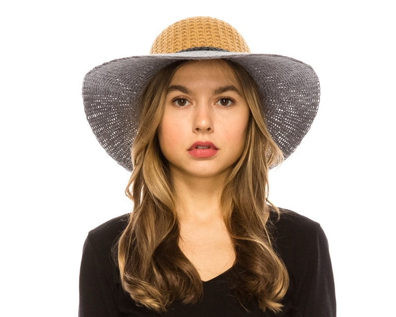3084 2 tone knit floppy hat with braid