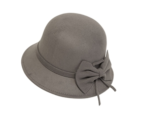 wholesale bucket hats womens fall winter cloches faux felt with bow