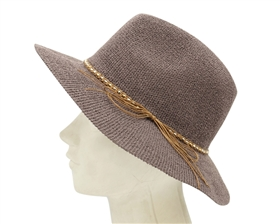 Wholesale Knit Panama Hats for Women - Black and Taupe