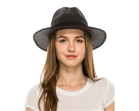 Womens Straw Panama Hats - Black Lace