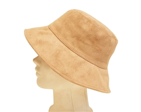 wholesale bucket hats - faux suede womens hat