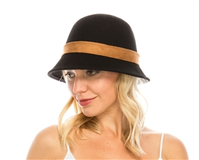 wholesale wool felt cloche w suede band