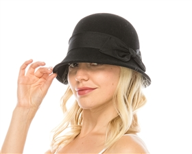 wholesale wool felt cloche w black bow
