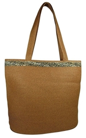 wholesale leopard print straw tote bag