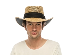 wholesale mens seagrass straw gambler hat