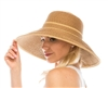 Wholesale Resort Straw Hats - Lampshade Sun Hat w/ Contrast Band