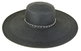 wholesale wide brim hat  chain trim