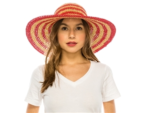 wholesale hand crocheted striped straw sun hat