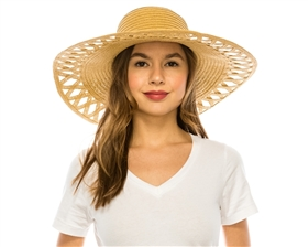 wholesale wide brim hat cutout brim