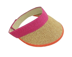 wholesale natural straw visors velcro adjustable