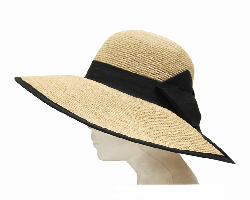 620 Fine Raffia Lampshade Sun Hat With Black Bow
