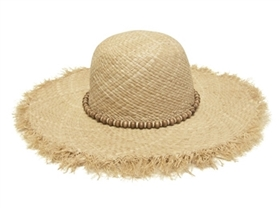 wholesale sun hats - organic raffia straw wide brim with fringe and beads