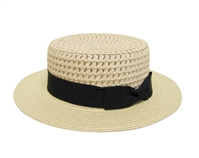 wholesale open weave straw boater hat