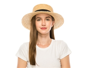 wholesale raffia straw boater hat