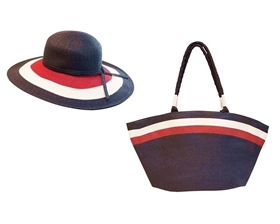 Wholesale Nautical-Americana Hat and Bag Set - Red White and Blue
