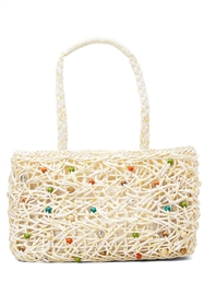 Wholesale straw handbags and purses - wood beads