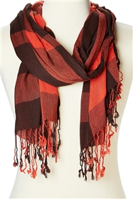 wholesale crinkled plaid rayon scarf
