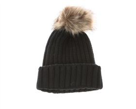wholesale beanie hats - fur pom rib knit beanies