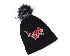 Wholesale Fur Pom Beanie w/ Embroidery