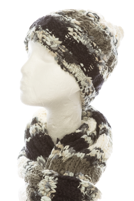 707 chunky knit hat scarf