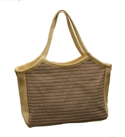 wholesale striped ribbon and straw tote bag