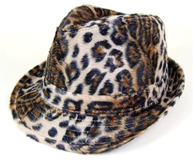 wholesale furry leopard print fedora