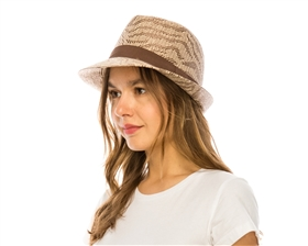 wholesale wavy stripe summer fedora